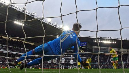 Nelson Oliveira's first half spot kick was comfortably saved by Scott Carson. Picture: Paul Chestert