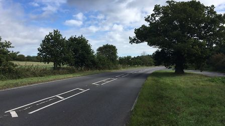 A general view of the A146, in Gillingham, near Beccles, where a crash has taken place. Photo: James