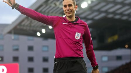 Referee David Coote during a Carrow Road game last season, when he sent off Wolves keeper Carl Ikeme