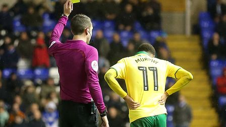 David Coote shows a yellow card to Josh Murphy during City's 2-0 win at Birmingham on Boxing Day. Pi