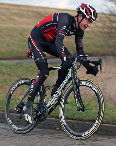 North Walsham rider John Swindells (Iceni Velo) powers to the best ride on a road bike at the Ely Ha
