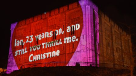 Christine Hendry's valentine message to her husband Ian Abernethy projected onto the Castle. Picture