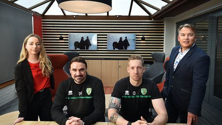 Daniel Farke and City's head of sports science, Chris Domogalla, take a break from planning for Sund