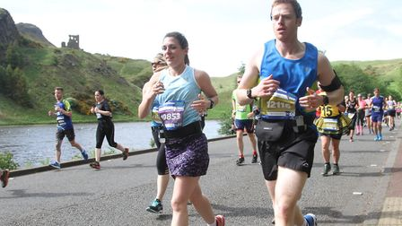 Mark Armstrong and wife, Alison, in the early stages of the Edinburgh Marathon. Picture: Edinburgh M