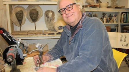 Sculptor Mitchell House in his studio at Alby Crafts and Gardens. Photo: KAREN BETHELL