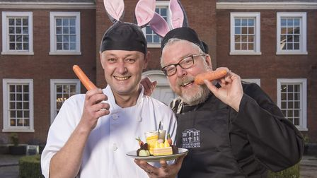 Pastry chef Mark Mitson and Chef Director Richard Hughes with The Assembly House's new Easter themed