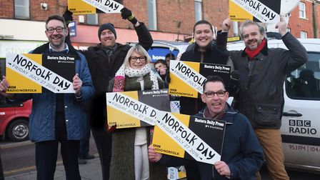 Supporters at the Eastern Daily Press and Radio Norfolk launch of Norfolk Day in Dereham's Market Pl