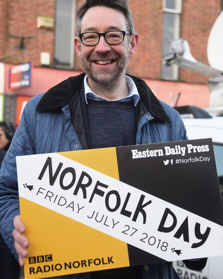 Peter Cook, editor of BBC Radio Norfolk and Radio Suffolk, supporting Norfolk Day at the Eastern Dai