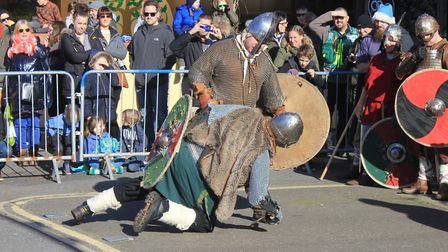 Re-enactment group members battle it out in combat displays on Lifeboat Plain as Sheringham Viking F
