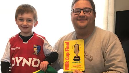 Little Plumstead primary school pupil Isaac Britton, aged seven, was chosen to receive the shirt. Hi