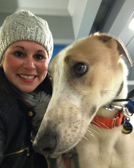 Greyhound activist Kerry Elliman with one of her dogs. Picture: Kerry Elliman