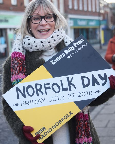 Mel Cook of VisitNorwich at the recent launch of Norfolk Day in Dereham's Market Place. Picture: DEN