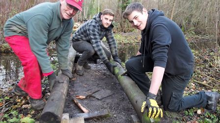 Fairhaven gardeners John Debbage, Michael Hadji and student Lewis Goldspink at work on phase two of
