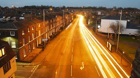 Light trails created by traffic heading out of King's Lynn via the South Gate. Picture: Ian Burt