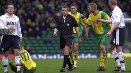 Iwan Roberts makes a point to the referee during a game against Preston in March, 2001. Picture: Arc