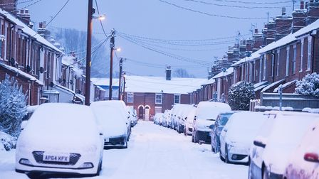 Snow on Denmark road, Beccles.Picture: Nick Butcher
