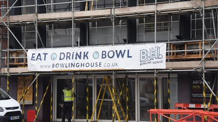The former Merge restaurant building is being turned into a bowling alley. Picture: DENISE BRADLEY