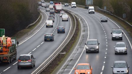 The A47 dual carriageway looking to the east between the Thickthorn and A140 junctions. Picture: DEN