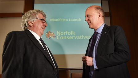 Cliff Jordan, leader of Norfolk County Council (left) with Secretary of State for Transport Chris Gr