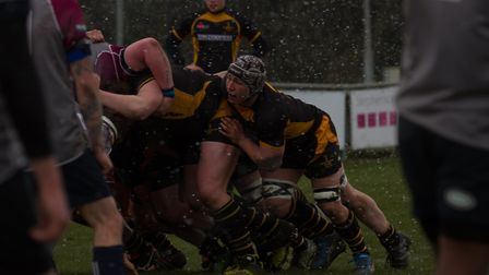 Southwold mastered the snowy conditions to beat West Norfolk 52-12. Picture: Southwold RFC