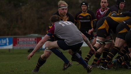 Southwold's Dom Hill in action against West Norfolk. Picture: Southwold RFC