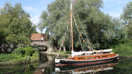 Pulls Ferry and the Hathor Wherry on the river Wensum in Norwich.