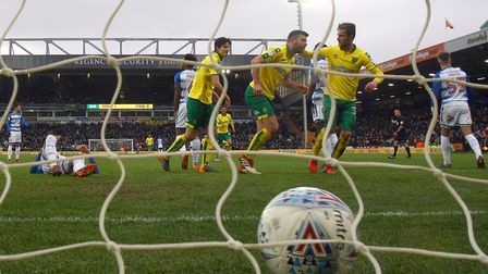 It's celebration time as Grant Hanley scores his first goal for Norwich City since arriving in the s