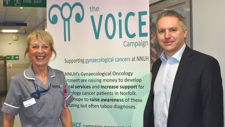 Caroline Tayler with NNUH Consultant Gynaecological Oncologist Tim Duncan. Photo: NNUH