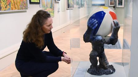 Amanda Geitner, director of East Anglian Art Fund, with Craig Hudson's Surely It's Not That Bad, one