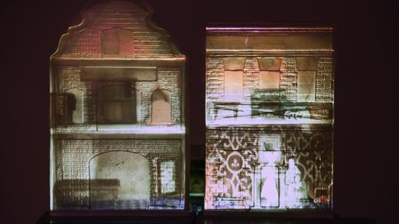 Sisters by Liz Waugh McManus, cut glass replicas of two dolls houses, one of the exhibits in the Ope