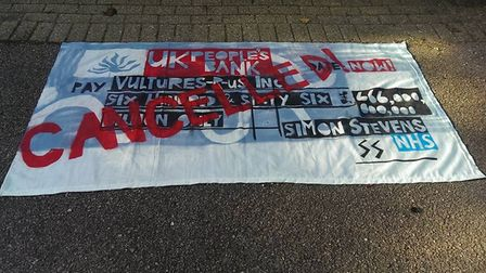 Demonstrators are calling for an end to land sales. Picture: NHS Norfolk Action Group
