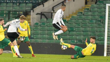 Norwich City U23's in action against Fulham U23's at Carrow Road. Robert Atkinson scores for Fulham.