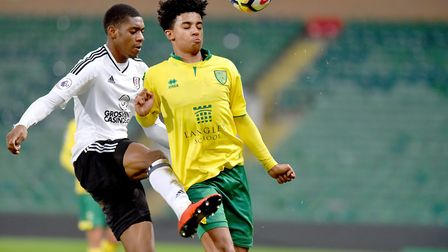 Norwich City U23's in action against Fulham U23's at Carrow Road. Jordan Thomas in action for Norwic