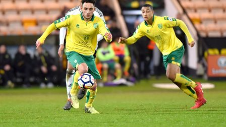 Norwich City U23's in action against Fulham U23's at Carrow Road. Louis McIntosh in action for Norwi