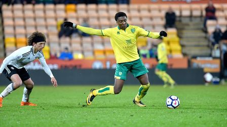 Norwich City U23's in action against Fulham U23's at Carrow Road. Devonte Aransibia in action for No