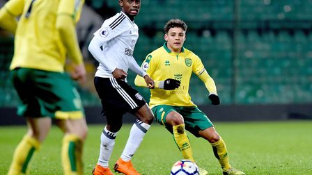 Premier League 2 action between Norwich City U23's and Fulham U23's at Carrow Road.Max Aarons. Pictu