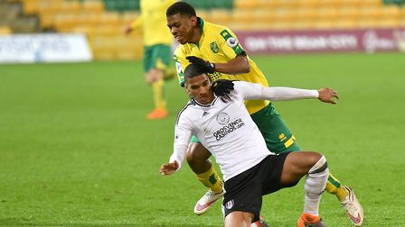 Premier League 2 action between Norwich City U23's and Fulham U23's at Carrow Road. Tristan Abrahams