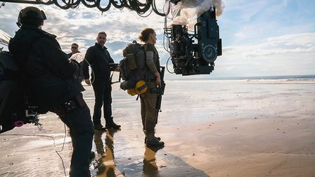 First assistant director Matthew Penry Davey, director Alex Garland and Natalie Portman on the set o