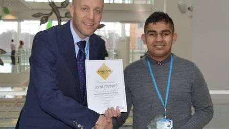 Jamil Ahmed with NNUH Director of Workforce, Jeremy Over. Picture: Courtesy NNUH