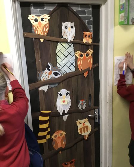 Taverham Junior School ran a 'book door' competition: every teacher plus the Head, Deputy and the Of