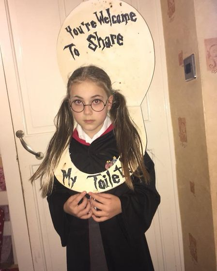 Mollie Speed, aged 11 as Moaning Myrtle from the Harry Potter books. Picture: Jamie Speed