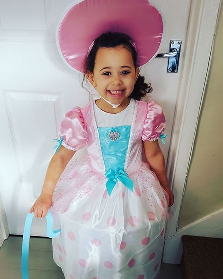 Sienna Brown, aged 5, dressed as Little Bo Peep. Picture: Lucy Augood