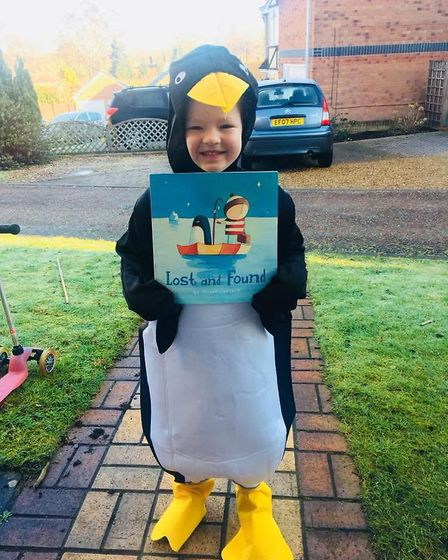 Eden Rose Coombes, aged 5, as the lost penguin from 'Lost and Found'. Picture: Juliet Susannah