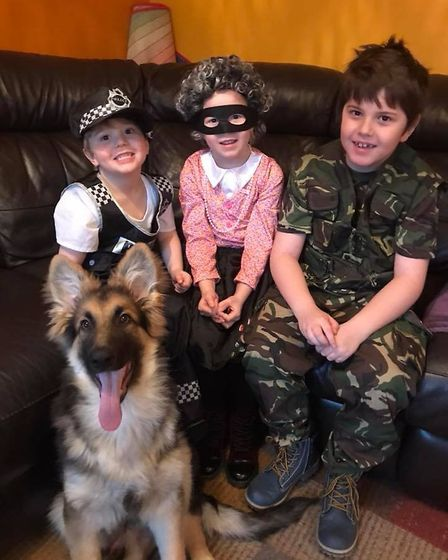Levi, aged 3, as PC Snitch with Lily Blake, aged 6, as Gangster Granny and Ethan, aged 8 as Private