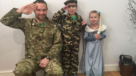 Big soldier, little soldier and Elsa in our house this morning. Louis Pulham, aged 41 with Noah Pulh