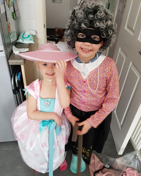Elicia Searle, aged 4, as Little Bo Peep with Ellie-Mae as Gangsta Granny. Picture: Kerri Searle