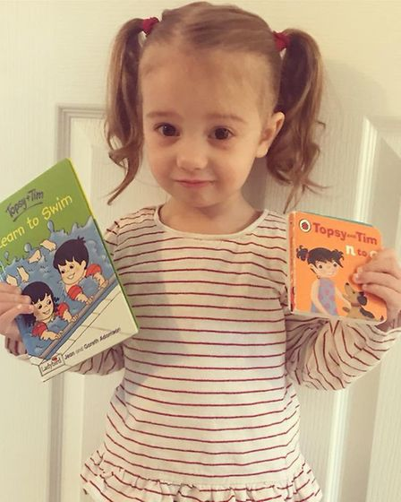 Florence, aged 2, dressed asTopsy from the Topsy and Tim books. Picture: Emma Jenkins