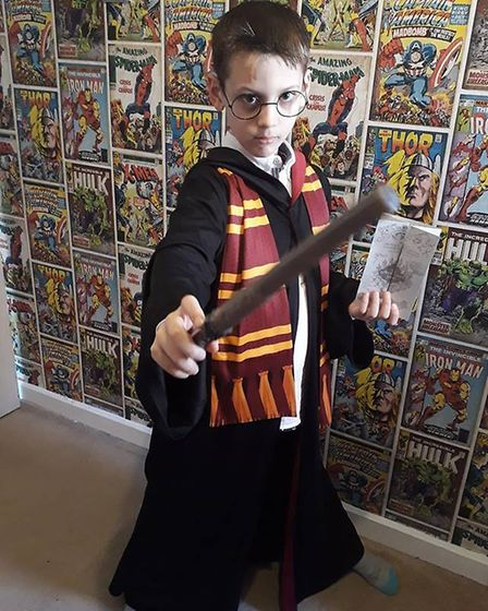 Cody Ransome, aged 7, as Harry Potter. Picture: Stacey Ransome
