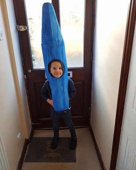 Benjamin, aged 5, as the Blue Crayon from 'The Day the Crayons Quit'. Picture: Lyndsey Harmer