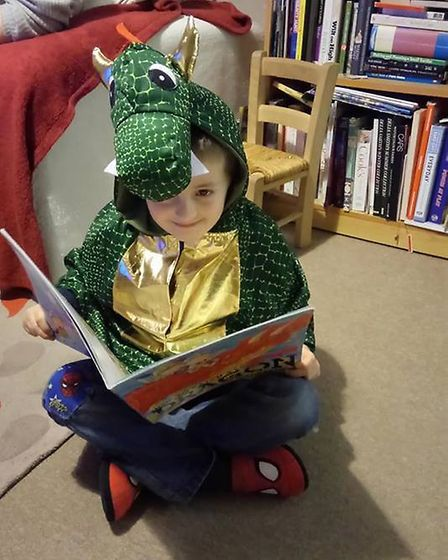 Rowan Savage, aged 5, as a dragon from 'How To Catch A Dragon'. Picture: Jennifer Savage